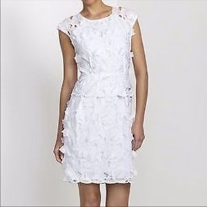 NWT BCBGMaxazria Aveline White Lace Appliqué Dress